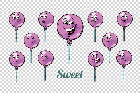 A round Lollipop candy emotions characters collection set. Isolated neutral background. Retro comic book style cartoon pop art vector illustration.
