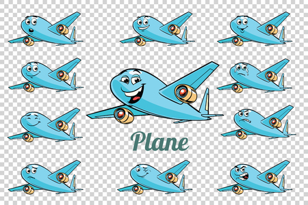 Airplane plane airliner aviation emotions characters collection set. Isolated neutral background. Retro comic book style cartoon pop art vector illustration.