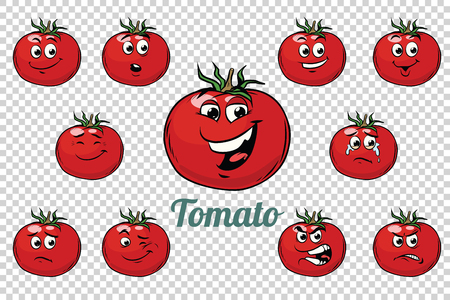 Tomato emotions characters collection set. Isolated neutral background. Retro comic book style cartoon pop art vector illustration.