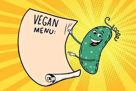 Vegetarian menu announces cucumber. Retro comic book style cartoon pop art vector illustration.