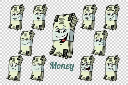 honderd dollar cash packing emoties karakters collectie set. Geïsoleerde neutrale achtergrond. Retro stripboek cartoon pop art vectorillustratie Stockfoto