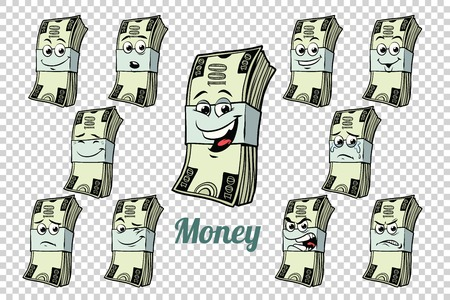 one hundred dollars cash packing emotions characters collection set. Isolated neutral background. Retro comic book style cartoon pop art vector illustration