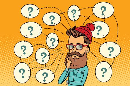 Hipster lost het probleem, vragen en reflecties op. Grappige van de het pop-art retro kleur van het boekbeeldverhaal de illustratietekening Stockfoto - 83226895