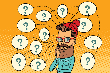 Hipster solves the problem, questions and reflections. Comic book cartoon pop art retro color illustration drawing