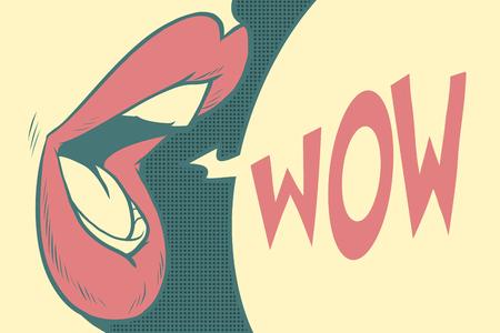 Pop-art mond wow. Verladen effect oude foto's. Cartoon comic illustratie pop art retro stijl vector. Stock Illustratie
