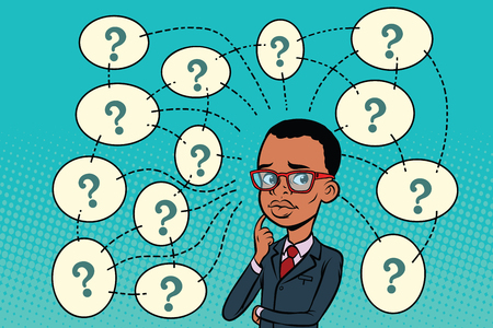 African man solves the problem, questions and reflections. Comic book cartoon pop art retro color illustration drawing Ilustrace