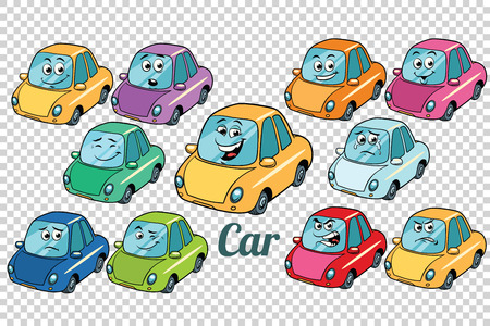 car vehicle automobile collection set neutral background. Comic book cartoon pop art retro color illustration drawing