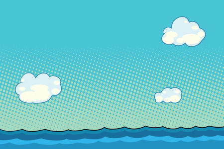 marine landscape with sea and clouds. Comic book cartoon pop art retro color illustration drawing Illustration