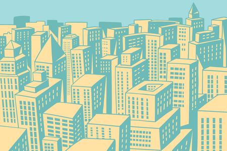 近代的な都市のパノラマ。コミック漫画 pop アート レトロな色のビンテージの図を描画