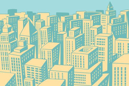 Modern city panorama. Comic book cartoon pop art retro colored drawing vintage illustration Stok Fotoğraf - 83107120
