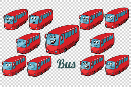 bus autobus collection set neutral background. Comic book cartoon pop art retro color illustration drawing Stock Illustration - 83598462