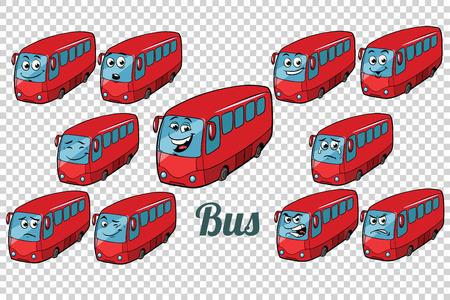 bus autobus collection set neutral background. Comic book cartoon pop art retro color illustration drawing