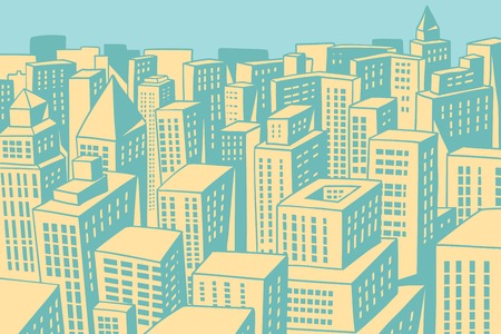 Modern city panorama. Comic book cartoon pop art retro colored drawing vintage illustration