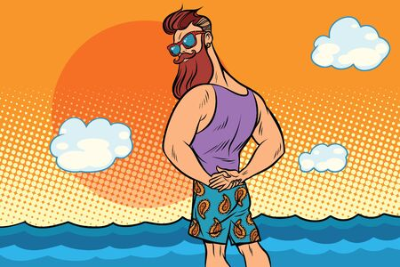bearded hipster is resting on the sea. Comic book cartoon pop art retro color illustration drawing Banco de Imagens - 83088999