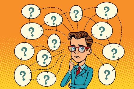 Businessman solves the problem, questions and reflections. Comic book cartoon pop art retro color illustration drawing