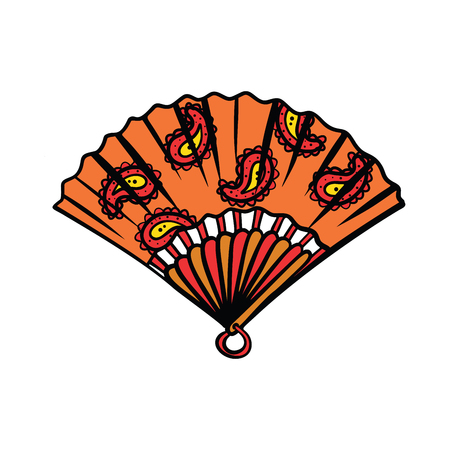 paper fan illustration isolated on white background. Comic book cartoon pop art retro color illustration drawing Imagens