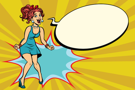 Pop art retro woman shouts with joy, positive emotions. Comic book cartoon retro color illustration drawing