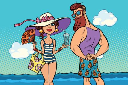 복고풍 커플 바다, 젊은 여자 bearded hipster에서. 만화 만화 팝 아트 복고풍 컬러 그림 그리기