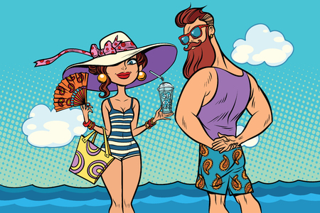 retro couple at the sea, young woman bearded hipster. Comic book cartoon pop art retro color illustration drawing