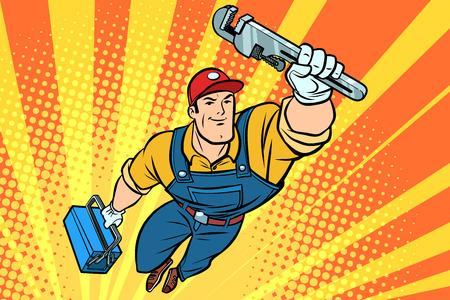 Macho superhéroe fontanero con una llave. Dibujado a mano ilustración dibujos animados pop art estilo retro vector