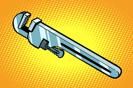 仕事のための調節可能なレンチ ツール。手描きイラスト漫画 pop アート レトロ ベクトル スタイル  イラスト・ベクター素材