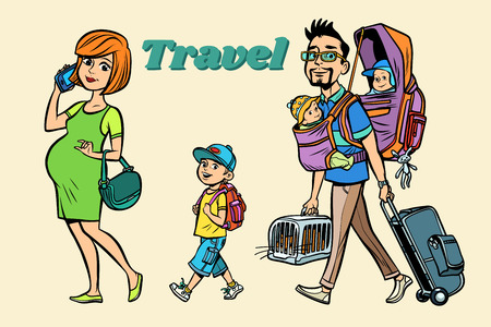 Caucasian family travelers, mom dad and kids. A pregnant woman and caring man. Tour with animals and children. Hand drawn illustration cartoon pop art retro vector style