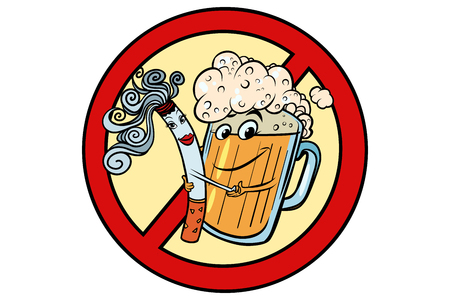 Beer and cigarette, sign ban. Nicotine and alcohol characters. Comic cartoon port art retro illustration vector Ilustrace