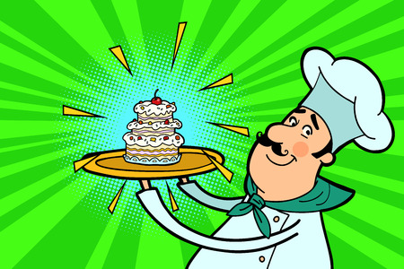 Chef cook character with cupcake. The restaurant and cooking. People in the profession. Comic cartoon port art retro illustration vector