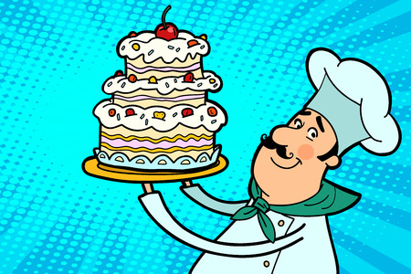 Chef cook character with cherry cake. The restaurant and cooking. People in the profession. Comic cartoon port art retro illustration vector