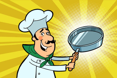 humor: Chef cook character with a frying pan Stock Photo
