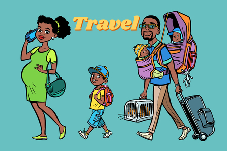 African family travelers, mom dad and kids. A pregnant woman and caring man. Tour with animals and children. Hand drawn illustration cartoon pop art retro vector style Çizim