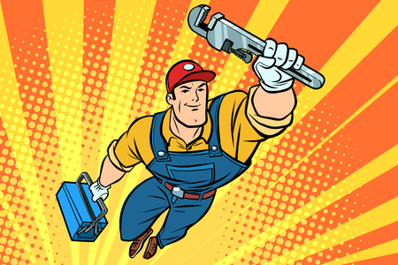 Worker plumber superhero flying. Comic book cartoon pop art retro vector illustration drawing