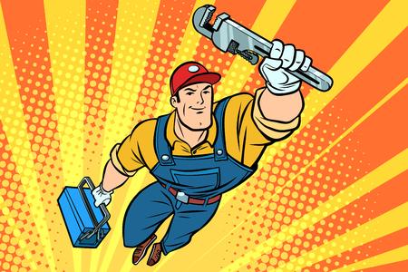 Worker plumber superhero flying. Comic book cartoon pop art retro vector illustration drawing