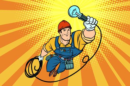 Trabajador electricista bombilla volando superhéroe. Dibujo de ilustración vectorial retro de dibujos animados de cómic pop art