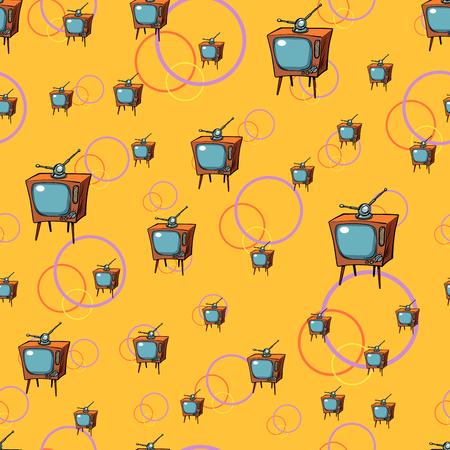 TV retro seamless pattern. Comic book cartoon pop art vector illustration drawing