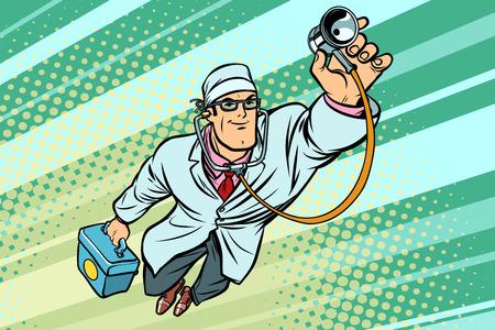 Lekarz lekarz ze stetoskopem latający superbohater. Komiks kreskówka pop-artu retro wektor ilustracja rysunek