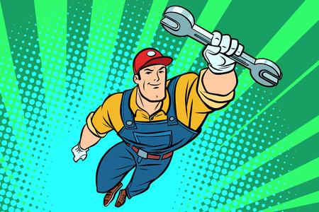 Mężczyzna mechanik z kluczem latającym superbohaterem. Komiks kreskówka pop-artu retro wektor ilustracja rysunek