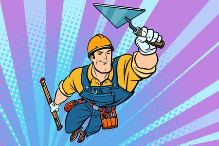 Superhero Builder professioneel vliegen. Grappige retro de illustratietekening van het boekbeeldverhaal pop-art
