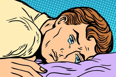 man lying on bed, depression grief and sadness. Comic book cartoon pop art retro Illustrator vector drawing Illustration