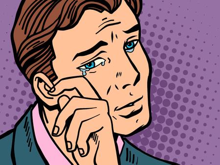 Pop art man wipes tears. Comic book cartoon retro Illustrator vector drawing