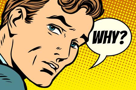 why man looks sad. Comic book cartoon pop art retro Illustrator vector drawing Vettoriali