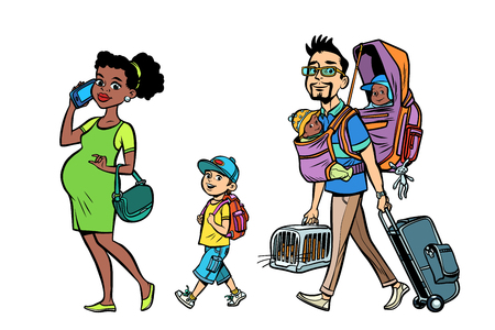 Multi ethnic family travelers, mom dad and kids. A pregnant woman and caring man. Tour with animals and children. Hand drawn illustration cartoon pop art retro vector style