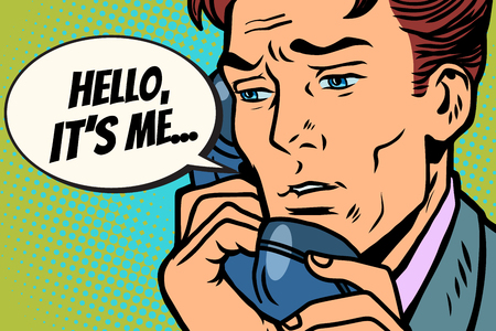 Pop art man talking on the phone Hello it is me. Comic book cartoon pop art retro Illustrator vector drawing Фото со стока