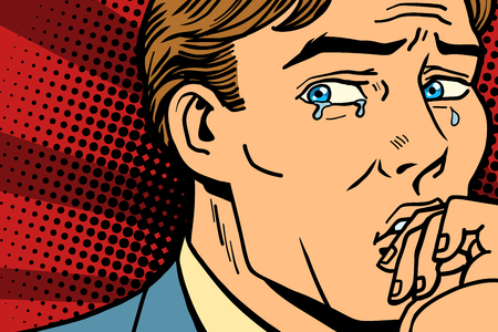 Pop art man crying in depression. Comic book cartoon retro Illustrator vector drawing Zdjęcie Seryjne