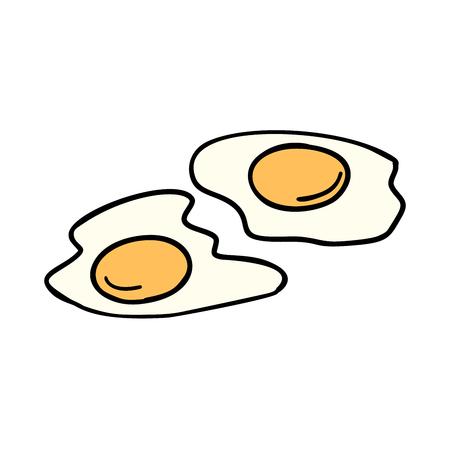기름에 튀긴 된 계란, 아침 아침. 만화 책 만화 팝 아트 그림 레트로 벡터