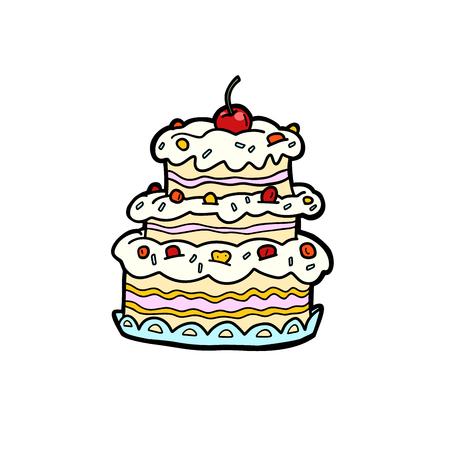 wedding or anniversary cream cake with cherries, birthday. Comic book cartoon pop art illustration retro vector