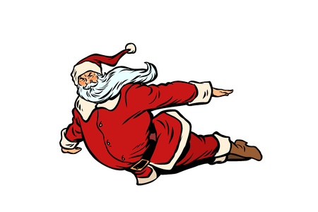 Santa Claus flying superhero vector.