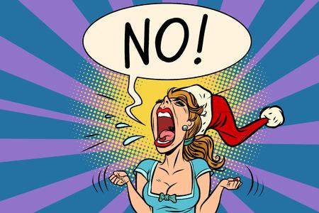 No scream Santa woman vector illustration.
