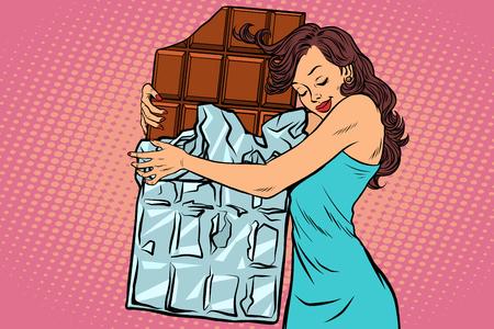 Een vrouw knuffels chocolade vectorillustratie. Stock Illustratie