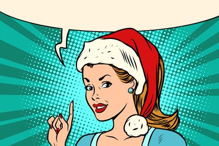 Kerstmanvrouw die vinger vectorillustratie richten. Stock Illustratie